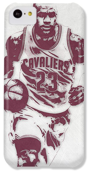 Lebron James iPhone 5c Case - Lebron James Cleveland Cavaliers Pixel Art 4 by Joe Hamilton