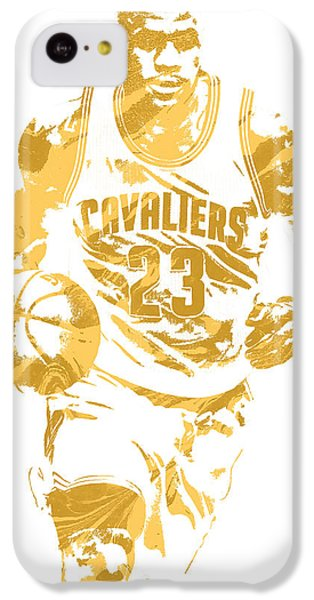 Lebron James iPhone 5c Case - Lebron James Cleveland Cavaliers Pixel Art 7 by Joe Hamilton