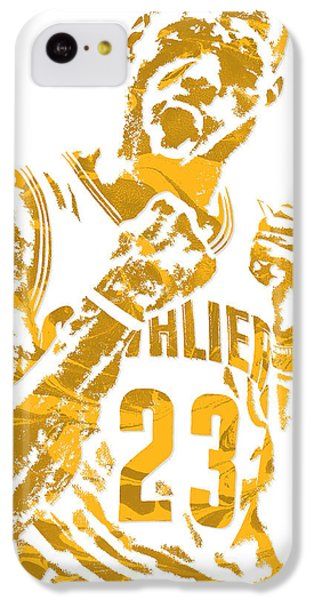 Lebron James iPhone 5c Case - Lebron James Cleveland Cavaliers Pixel Art 9 by Joe Hamilton