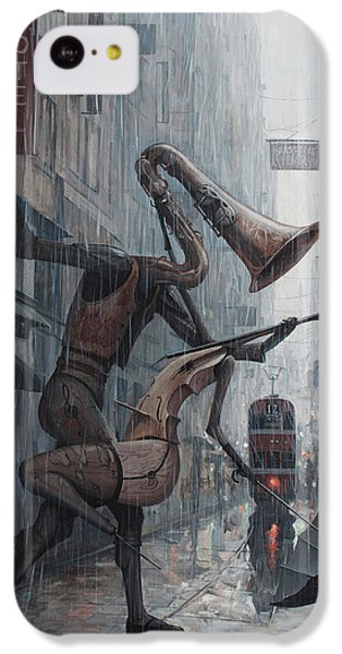 Saxophone iPhone 5c Case - Life Is  Dance In The Rain by Adrian Borda