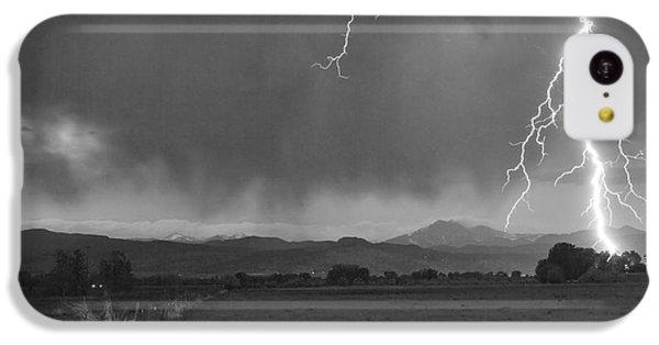 Lightning Striking Longs Peak Foothills 5bw IPhone 5c Case by James BO  Insogna
