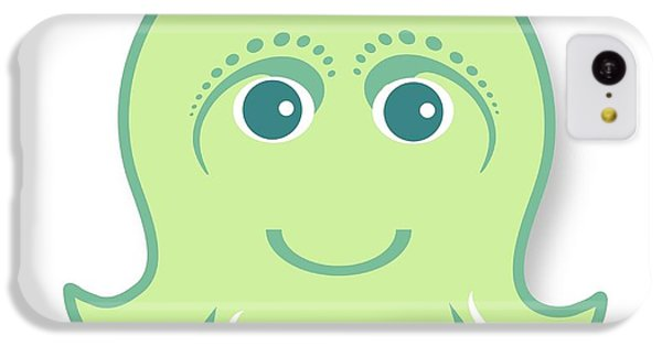 iPhone 5c Case - Little Cute Green Octopus by Ainnion