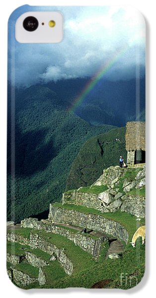 Llama iPhone 5c Case - Llama And Rainbow At Machu Picchu by James Brunker