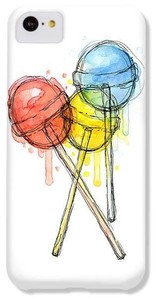 Lollipop Candy Watercolor IPhone 5c Case by Olga Shvartsur