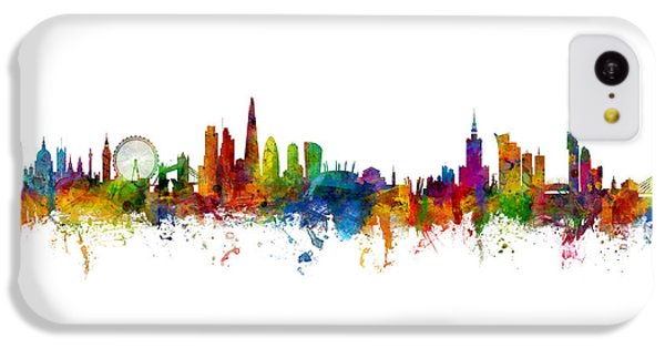 London Skyline iPhone 5c Case - London And Warsaw Skylines Mashup by Michael Tompsett