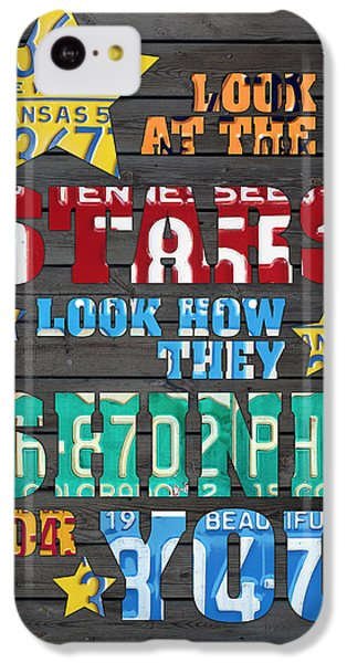 Look At The Stars Coldplay Yellow Inspired Typography Made Using Vintage Recycled License Plates IPhone 5c Case