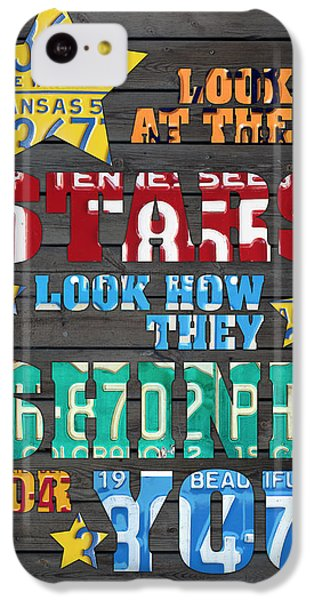 Coldplay iPhone 5c Case - Look At The Stars Coldplay Yellow Inspired Typography Made Using Vintage Recycled License Plates by Design Turnpike