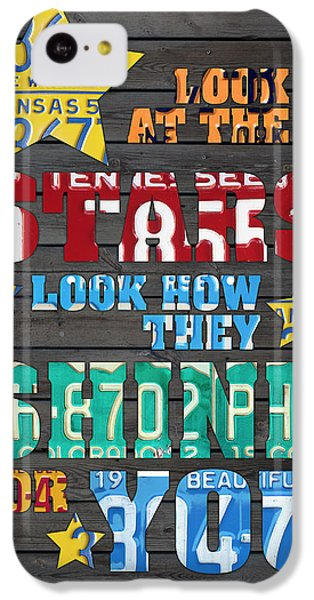 Look At The Stars Coldplay Yellow Inspired Typography Made Using Vintage Recycled License Plates IPhone 5c Case by Design Turnpike