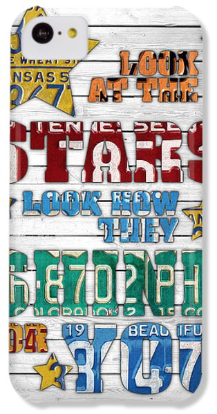 Look At The Stars Coldplay Yellow Inspired Typography Made Using Vintage Recycled License Plates V2 IPhone 5c Case by Design Turnpike