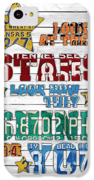 Coldplay iPhone 5c Case - Look At The Stars Coldplay Yellow Inspired Typography Made Using Vintage Recycled License Plates V2 by Design Turnpike