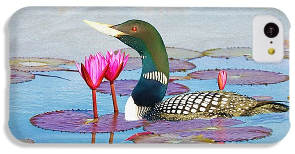 Loon iPhone 5c Case - Loon And Lotus by Laura D Young