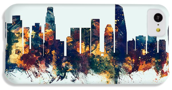 Los Angeles Skyline iPhone 5c Case - Los Angeles California Skyline Panoramic by Michael Tompsett