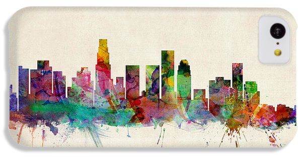 Los Angeles Skyline iPhone 5c Case - Los Angeles California Skyline Signed by Michael Tompsett
