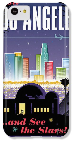 Los Angeles Retro Travel Poster IPhone 5c Case by Jim Zahniser
