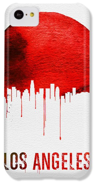 Los Angeles Skyline iPhone 5c Case - Los Angeles Skyline Red by Naxart Studio