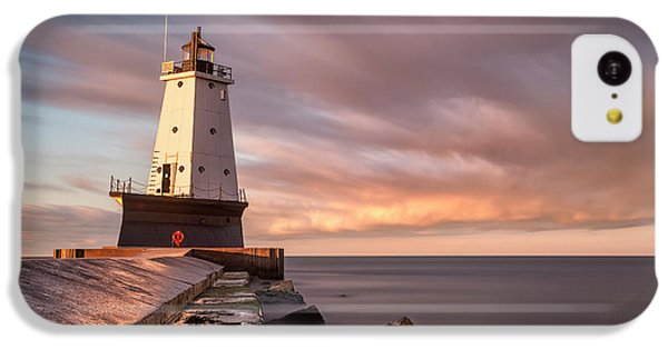 IPhone 5c Case featuring the photograph Ludington Light Sunrise Long Exposure by Adam Romanowicz