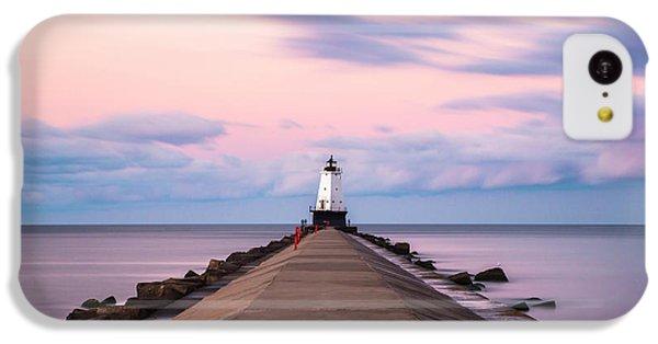 IPhone 5c Case featuring the photograph Ludington North Breakwater Light Sunrise by Adam Romanowicz