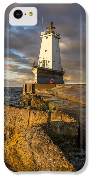 IPhone 5c Case featuring the photograph Ludington North Breakwater Lighthouse At Sunrise by Adam Romanowicz