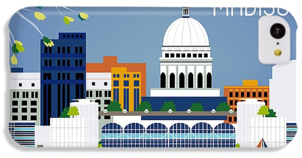 Madison Wisconsin Horizontal Skyline IPhone 5c Case by Karen Young