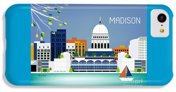 Capitol Building iPhone 5c Case - Madison Wisconsin Horizontal Skyline by Karen Young