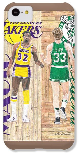 Magic Johnson And Larry Bird IPhone 5c Case by Chris Brown