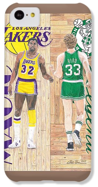 Magic Johnson iPhone 5c Case - Magic Johnson And Larry Bird by Chris Brown