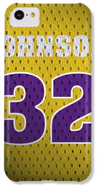 Magic Johnson Los Angeles Lakers Number 32 Retro Vintage Jersey Closeup Graphic Design IPhone 5c Case by Design Turnpike