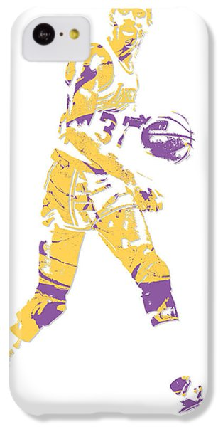 Magic Johnson iPhone 5c Case - Magic Johnson Los Angeles Lakers Pixel Art 5 by Joe Hamilton