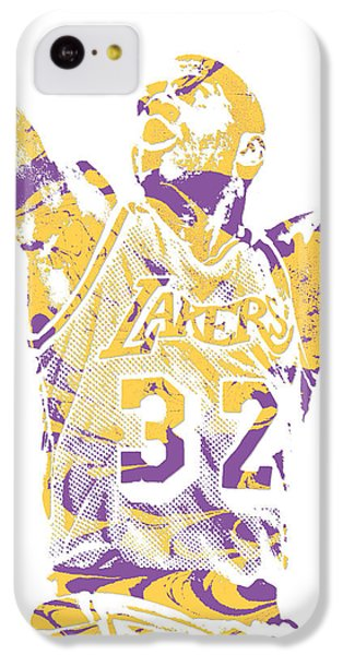 Magic Johnson iPhone 5c Case - Magic Johnson Los Angeles Lakers Pixel Art 7 by Joe Hamilton
