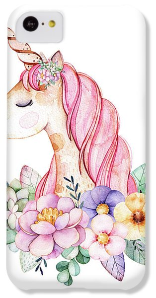 Floral iPhone 5c Case - Magical Watercolor Unicorn by Lisa Spence
