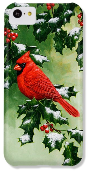 Male Cardinal And Holly Phone Case IPhone 5c Case by Crista Forest