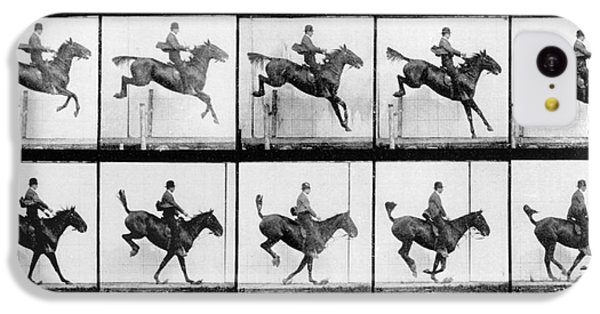 Man And Horse Jumping IPhone 5c Case by Eadweard Muybridge