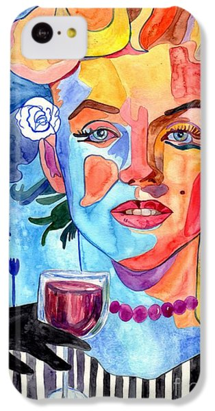 London Tube iPhone 5c Case - Marilyn Monroe Drinking Wine by Suzann's Art