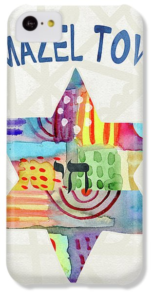 Bat iPhone 5c Case - Mazel Tov Colorful Star- Art By Linda Woods by Linda Woods