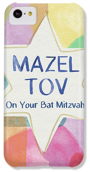 Bat iPhone 5c Case - Mazel Tov On Your Bat Mitzvah- Art By Linda Woods by Linda Woods