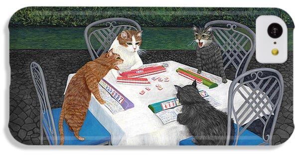 Dragon iPhone 5c Case - Meowjongg - Cats Playing Mahjongg by Karen Zuk Rosenblatt