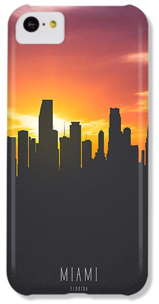 Miami Florida Sunset Skyline 01 IPhone 5c Case by Aged Pixel