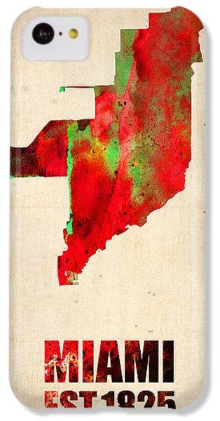 Miami iPhone 5c Case - Miami Watercolor Map by Naxart Studio