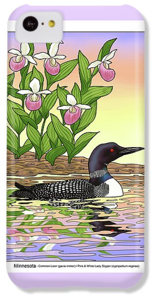 Minnesota State Bird Loon And Flower Ladyslipper IPhone 5c Case by Crista Forest