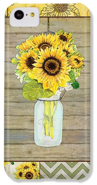 Sunflower iPhone 5c Case - Modern Rustic Country Sunflowers In Mason Jar by Audrey Jeanne Roberts