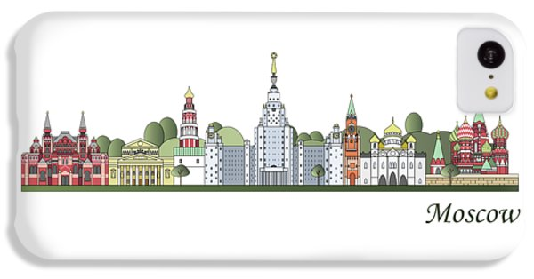 Moscow Skyline iPhone 5c Case - Moscow Skyline Colored by Pablo Romero