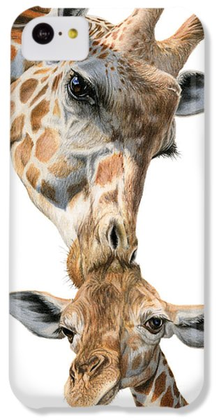 Giraffe iPhone 5c Case - Mother And Baby Giraffe by Sarah Batalka