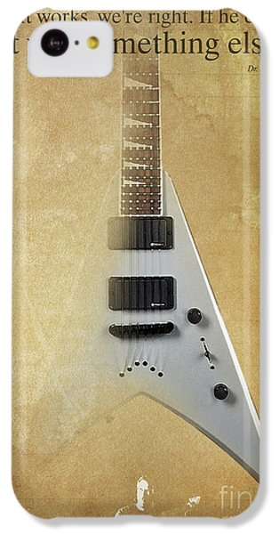 Dr House Inspirational Quote And Electric Guitar Brown Vintage Poster For Musicians And Trekkers IPhone 5c Case by Pablo Franchi