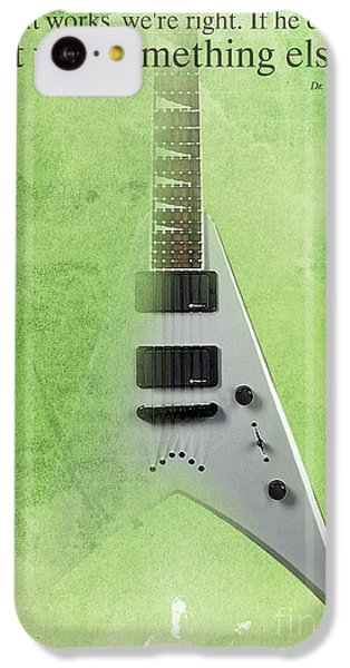 Dr House Inspirational Quote And Electric Guitar Green Vintage Poster For Musicians And Trekkers IPhone 5c Case by Pablo Franchi
