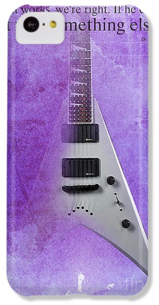 Dr House Inspirational Quote And Electric Guitar Purple Vintage Poster For Musicians And Trekkers IPhone 5c Case by Pablo Franchi