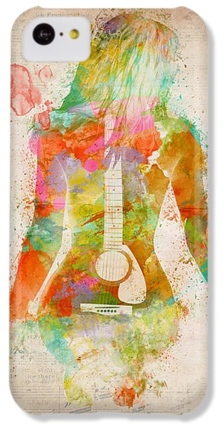 Guitar iPhone 5c Case - Music Was My First Love by Nikki Marie Smith