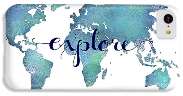 Navy And Teal Explore World Map IPhone 5c Case