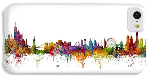 New York And London Skyline Mashup IPhone 5c Case by Michael Tompsett