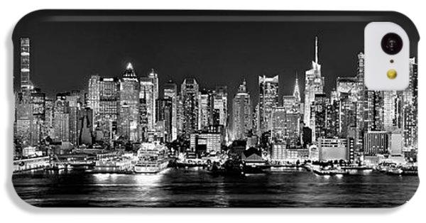 Broadway iPhone 5c Case - New York City Nyc Skyline Midtown Manhattan At Night Black And White by Jon Holiday