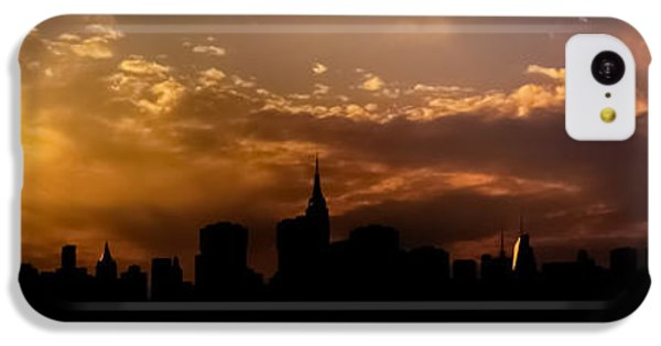 City Sunset iPhone 5c Case - New York City Skyline At Sunset Panorama by Vivienne Gucwa
